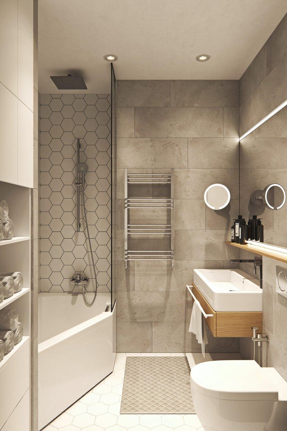 Фотография: Ванная в стиле Современный, Квартира, Проект недели, Москва, Geometrium, Монолитный дом, 3 комнаты, Более 90 метров, ЖК «Лайнер» – фото на INMYROOM