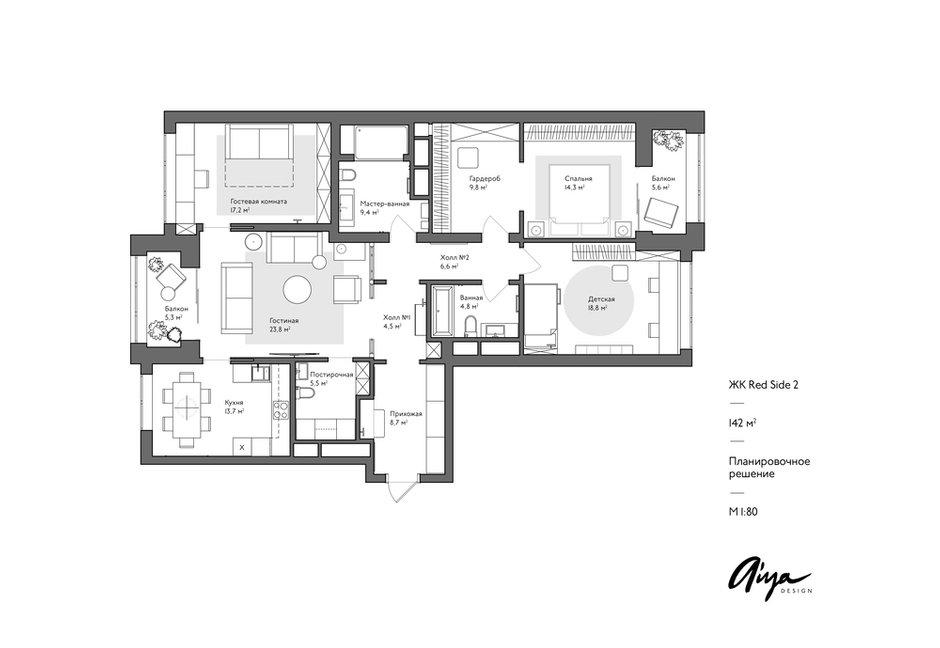 Фотография: Планировки в стиле , Miele, Проект недели, Москва, 4 и больше, Более 90 метров, Aiya Design, ЖК «Red Side» – фото на INMYROOM