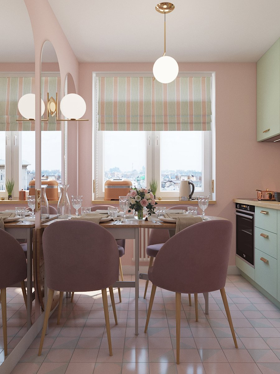 Фотография: Кухня и столовая в стиле Современный, Перепланировка, Евгения Матвеенко, FlatsDesign, Надежда Каппер, Хрущевка, 1 комната, до 40 метров, I-515/5, дизайн-баттл – фото на INMYROOM