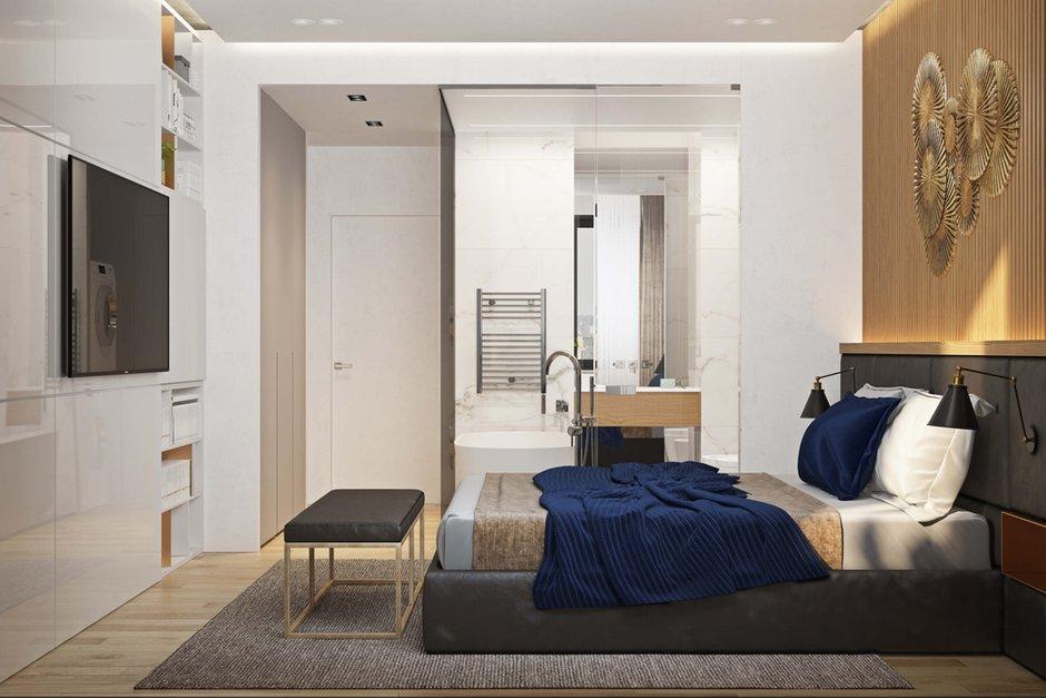 Фотография: Спальня в стиле Современный, Квартира, Проект недели, Москва, Geometrium, ЖК «Водный», 2 комнаты, 60-90 метров – фото на INMYROOM