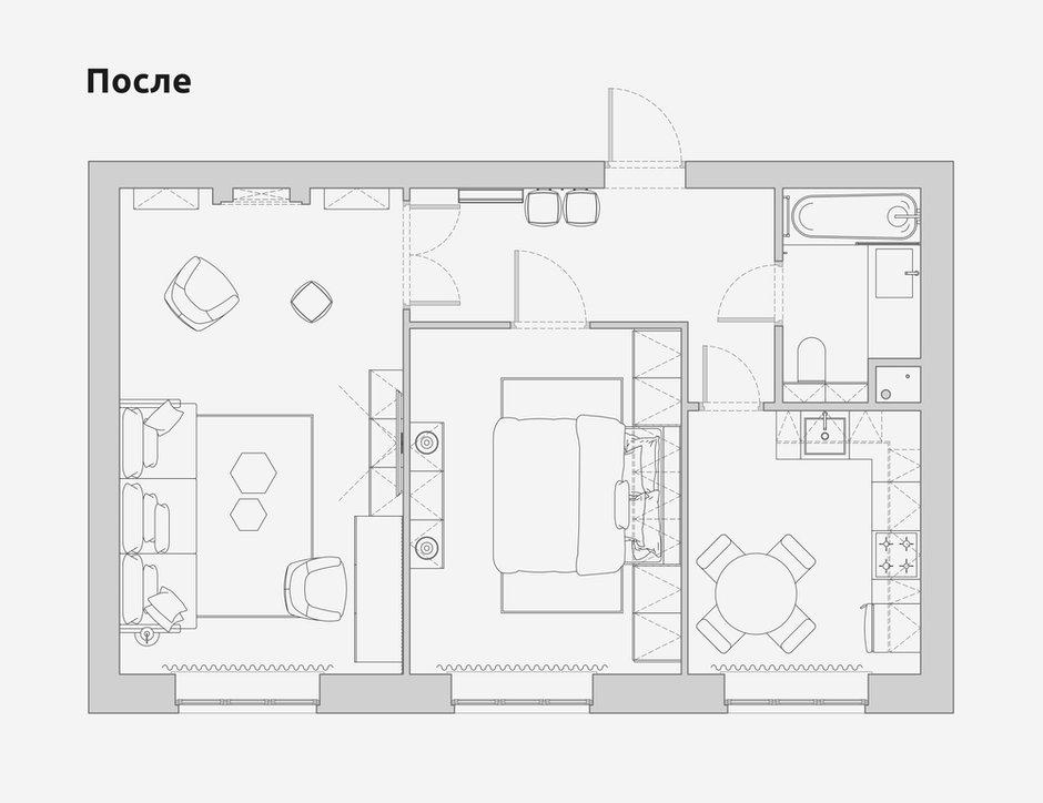 Фотография: Планировки в стиле , Современный, Квартира, Проект недели, Санкт-Петербург, 2 комнаты, 40-60 метров, Bobo.space – фото на INMYROOM