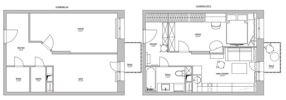 Фотография: Планировки в стиле , Эклектика, Квартира, Проект недели, Москва, 1 комната, 2 комнаты, до 40 метров, 40-60 метров, Наталия Турченко – фото на INMYROOM