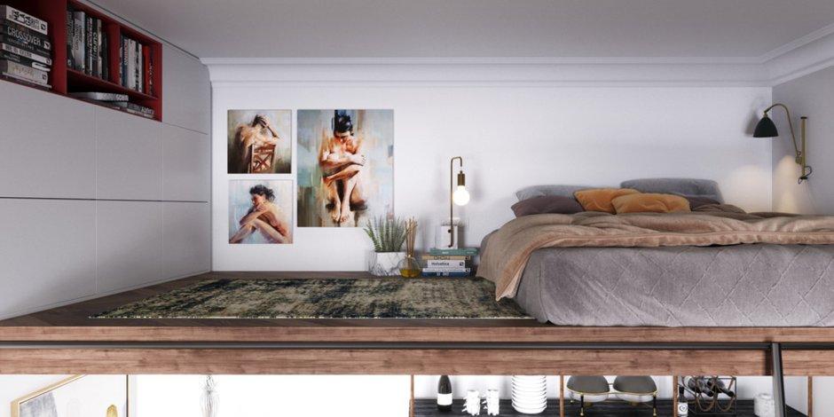 Фотография: Спальня в стиле Современный, Эклектика, Малогабаритная квартира, Квартира, Студия, Проект недели, Москва, до 40 метров, Монолитно-кирпичный, Анастасия Шабельская – фото на INMYROOM