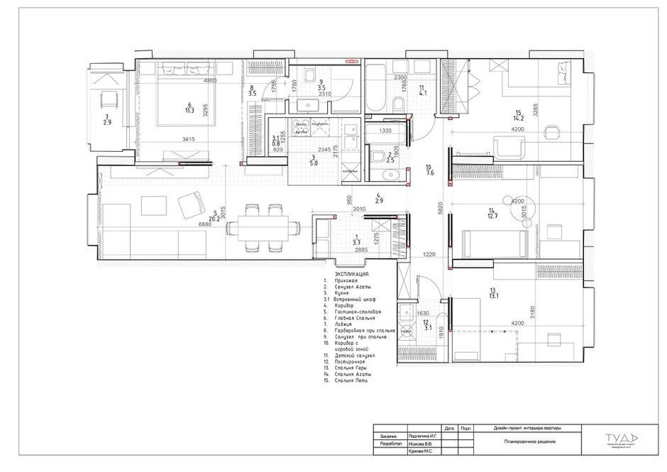 Фотография: Планировки в стиле , Современный, Квартира, Проект недели, Москва, 4 и больше, Более 90 метров, ТУДА – фото на INMYROOM