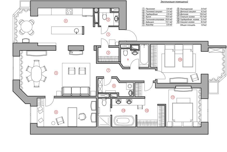 Фотография: Планировки в стиле , Квартира, Проект недели, Москва, 4 и больше, Более 90 метров, Монолитно-кирпичный, Марина Жукова – фото на INMYROOM