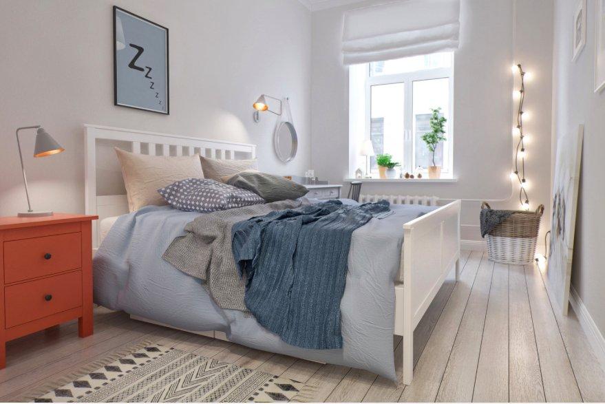 Фотография: Спальня в стиле Скандинавский, Декор интерьера, Квартира, Декор, Белый, Бежевый, Серый – фото на INMYROOM