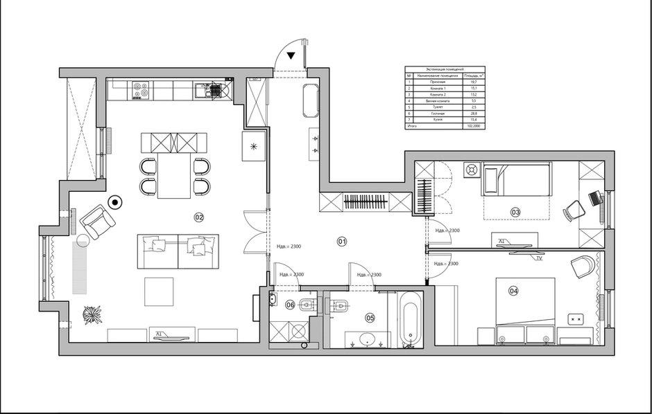 Фотография: Планировки в стиле , Современный, Квартира, Проект недели, Санкт-Петербург, 3 комнаты, Более 90 метров, Светлана Оленбург – фото на INMYROOM