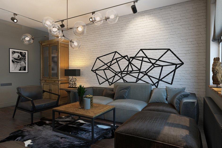 Фотография: Гостиная в стиле Лофт, Квартира, Проект недели, Москва, Диана Мальцева, новостройка, Монолитный дом, 2 комнаты, 60-90 метров – фото на INMYROOM