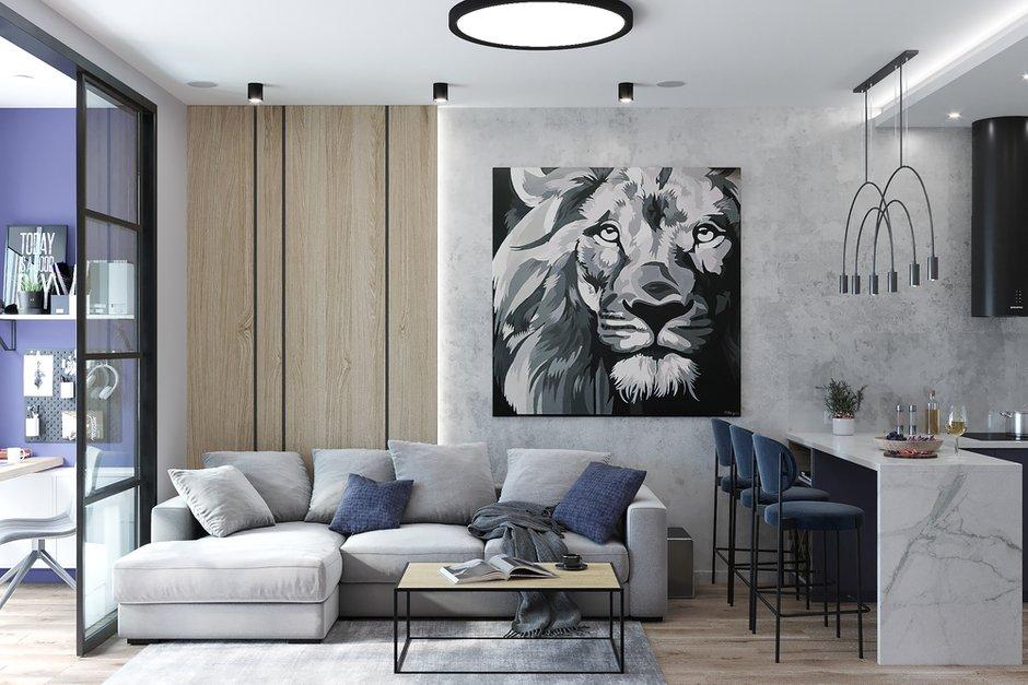 Фотография: Гостиная в стиле Современный, Квартира, Проект недели, Москва, 2 комнаты, 40-60 метров, Deus of House – фото на INMYROOM