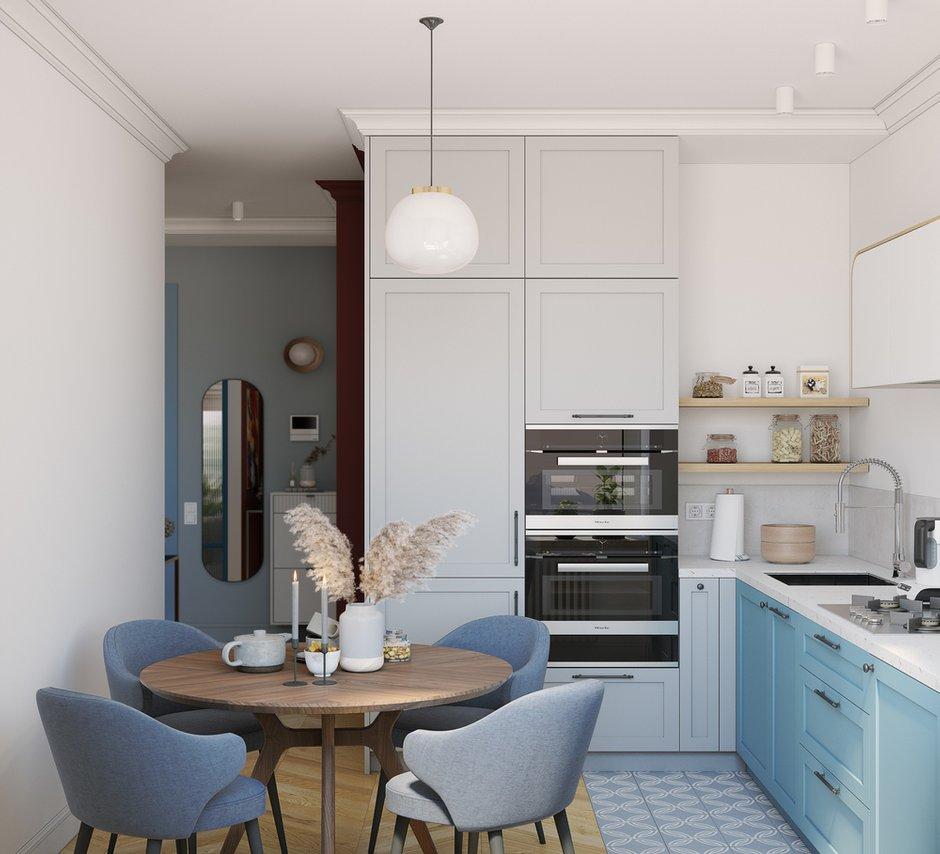 Пол: инженерная доска, укладка «французской елочкой». «Грязная» зона прихожей выделена плиткой. На кухне также выделили плиткой только рабочую зону.