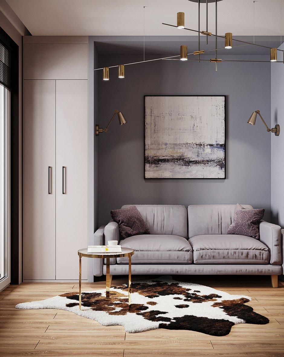 Фотография: Гостиная в стиле Современный, Малогабаритная квартира, Квартира, Студия, Проект недели, Москва, Монолитный дом, до 40 метров, Светлана Удзилаури – фото на INMYROOM