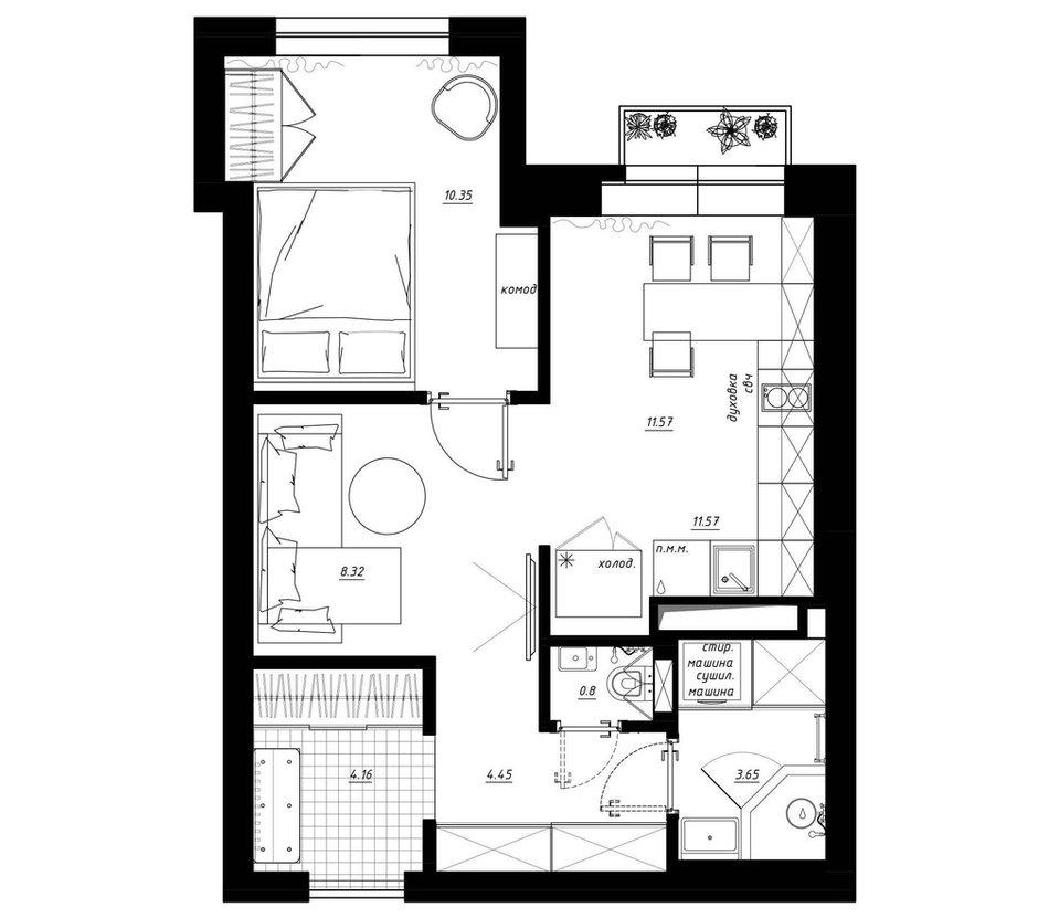 Фотография: Планировки в стиле , Квартира, Перепланировка, Санкт-Петербург, Никита Зуб, ЖК Граф Орлов, 1 комната, 40-60 метров, Монолитно-кирпичный, планировочная среда – фото на INMYROOM