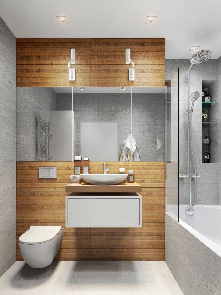 Фотография: Ванная в стиле Современный, Квартира, Проект недели, Бежевый, Серый, 2 комнаты, 40-60 метров, Олеся Березовская – фото на INMYROOM