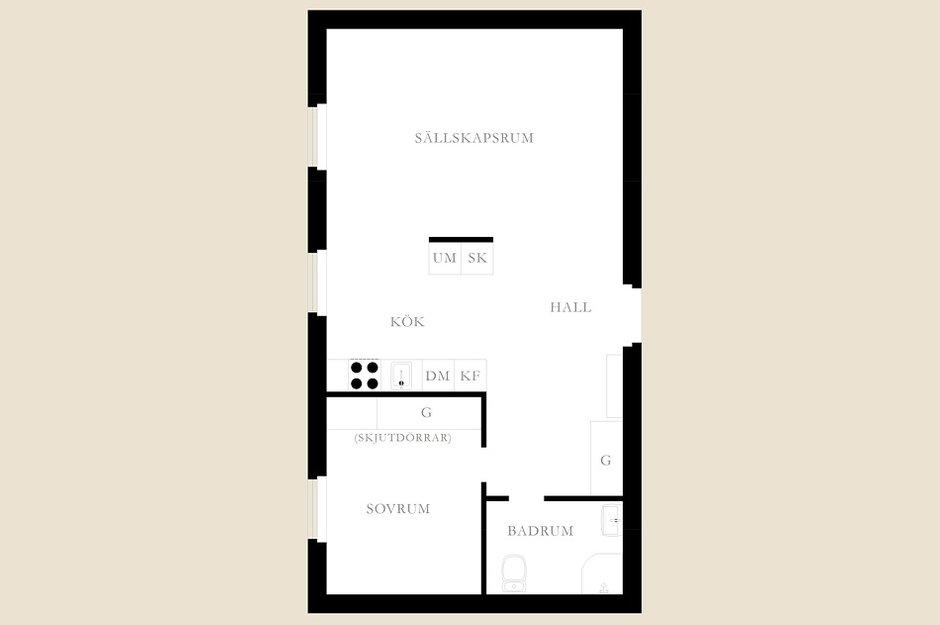 Фотография: Планировки в стиле , Малогабаритная квартира, Квартира, Швеция, Дома и квартиры – фото на INMYROOM