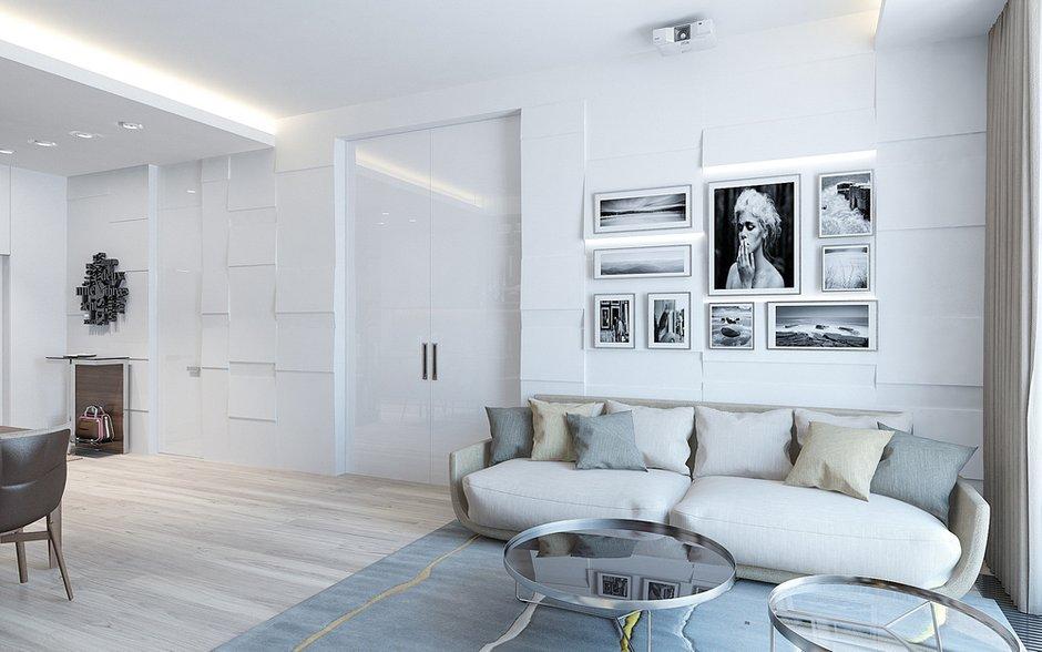 Фотография: Гостиная в стиле Современный, Минимализм, Квартира, Проект недели, Москва, Монолитный дом, 3 комнаты, Более 90 метров, Lofting – фото на INMYROOM