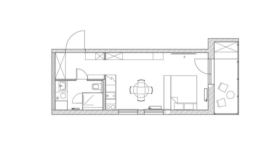 Фотография: Планировки в стиле , Современный, Малогабаритная квартира, Квартира, Студия, Проект недели, Санкт-Петербург, до 40 метров, Любовь Уткина – фото на INMYROOM