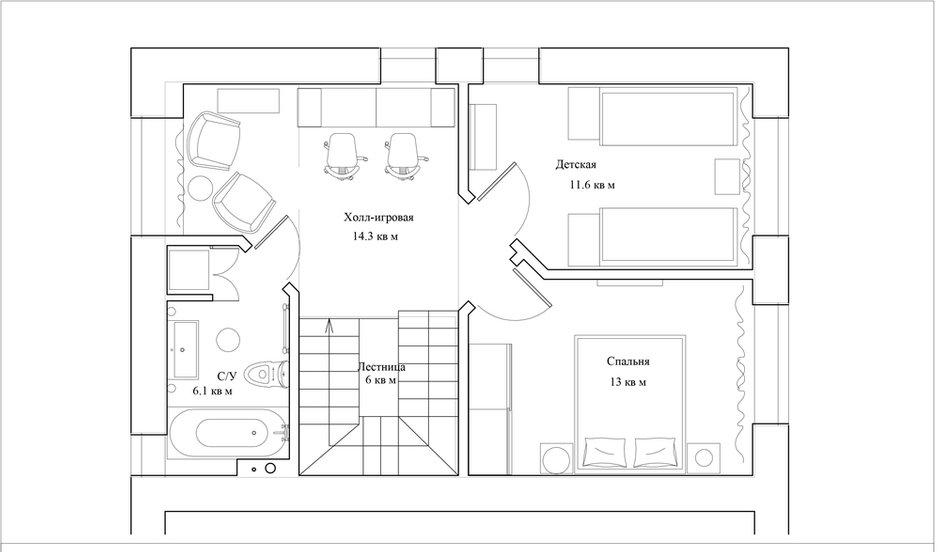 План с расстановкой мебели, 2-й этаж