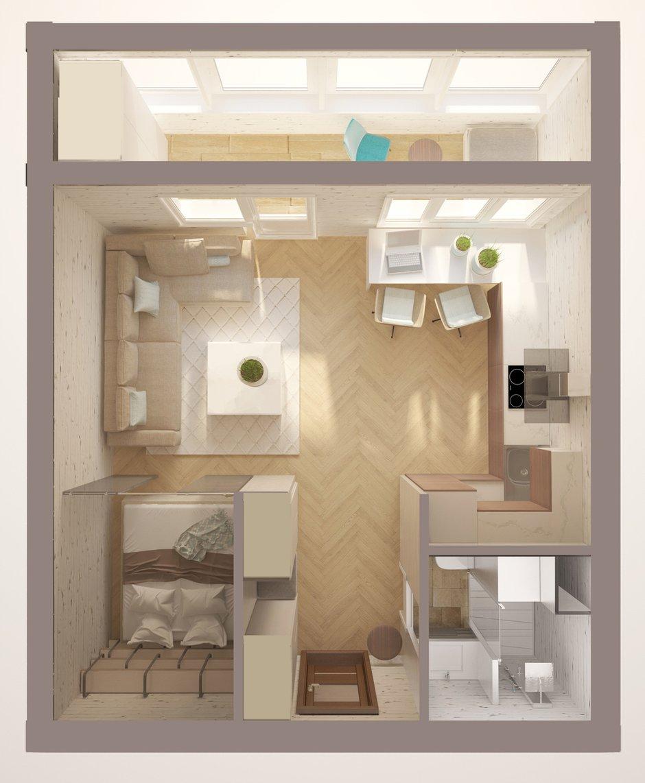 Фотография: Прочее в стиле , Квартира, Планировки, Дома и квартиры, Переделка, Блочный дом, 1 комната, до 40 метров, II-18 – фото на INMYROOM