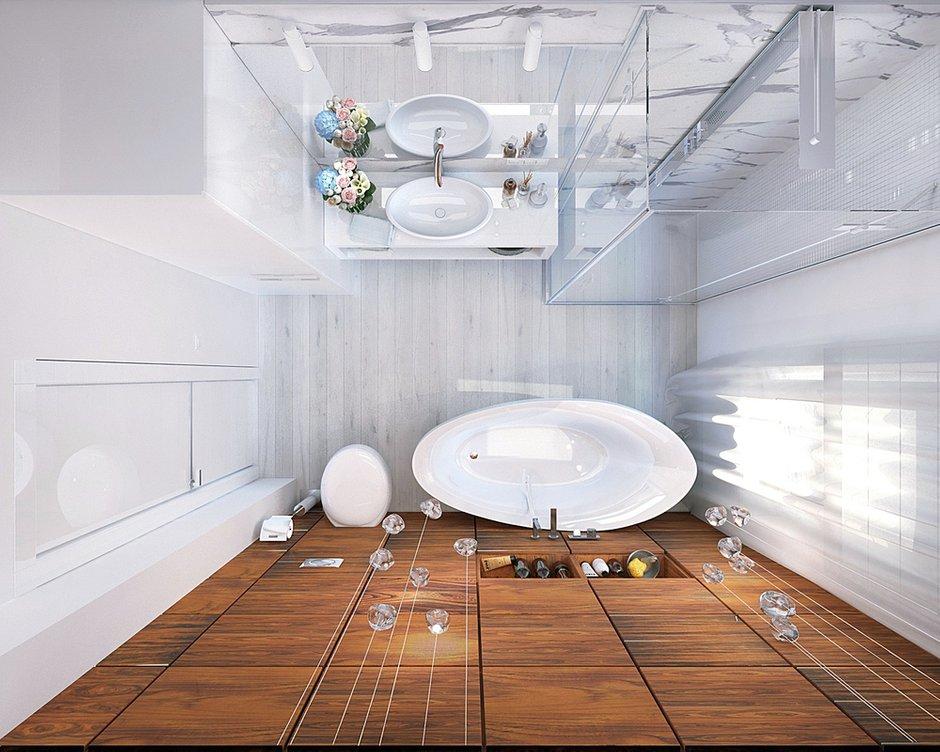 Фотография: Кухня и столовая в стиле Скандинавский, Эклектика, Ванная, Современный, Квартира, Планировки, Проект недели – фото на INMYROOM