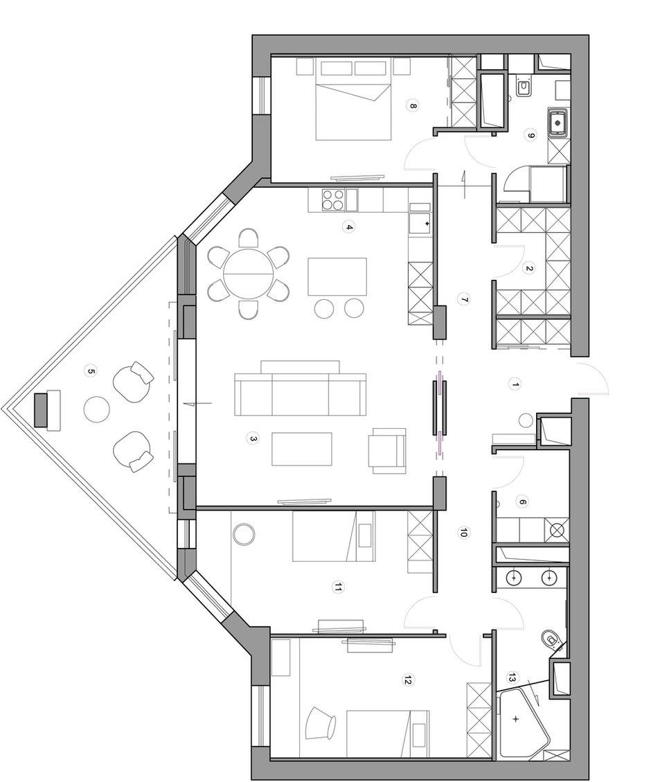 Фотография: Планировки в стиле , Квартира, Проект недели, Москва, Монолитный дом, 4 и больше, Более 90 метров, Юлия Кишкович – фото на INMYROOM