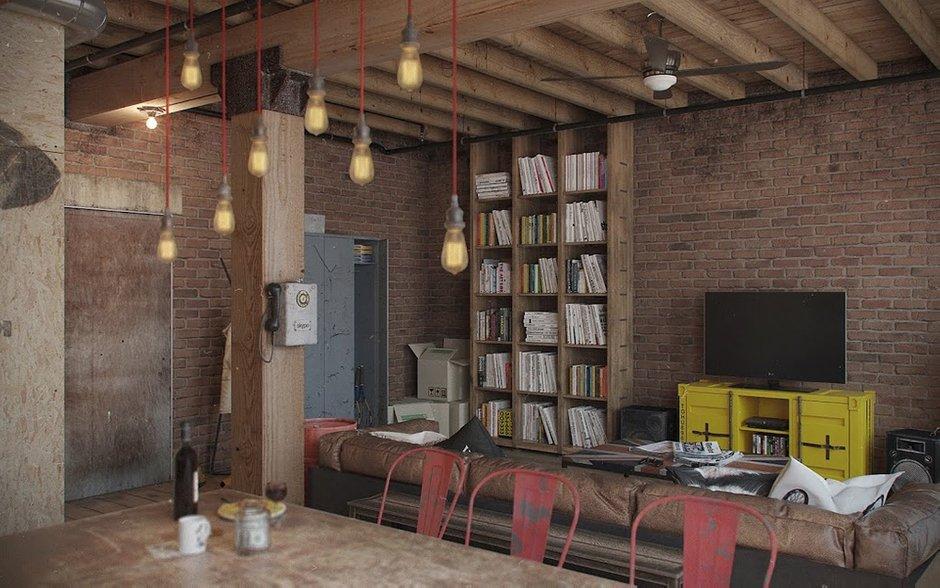 Фотография: Гостиная в стиле Лофт, Квартира, Дома и квартиры, Проект недели – фото на INMYROOM