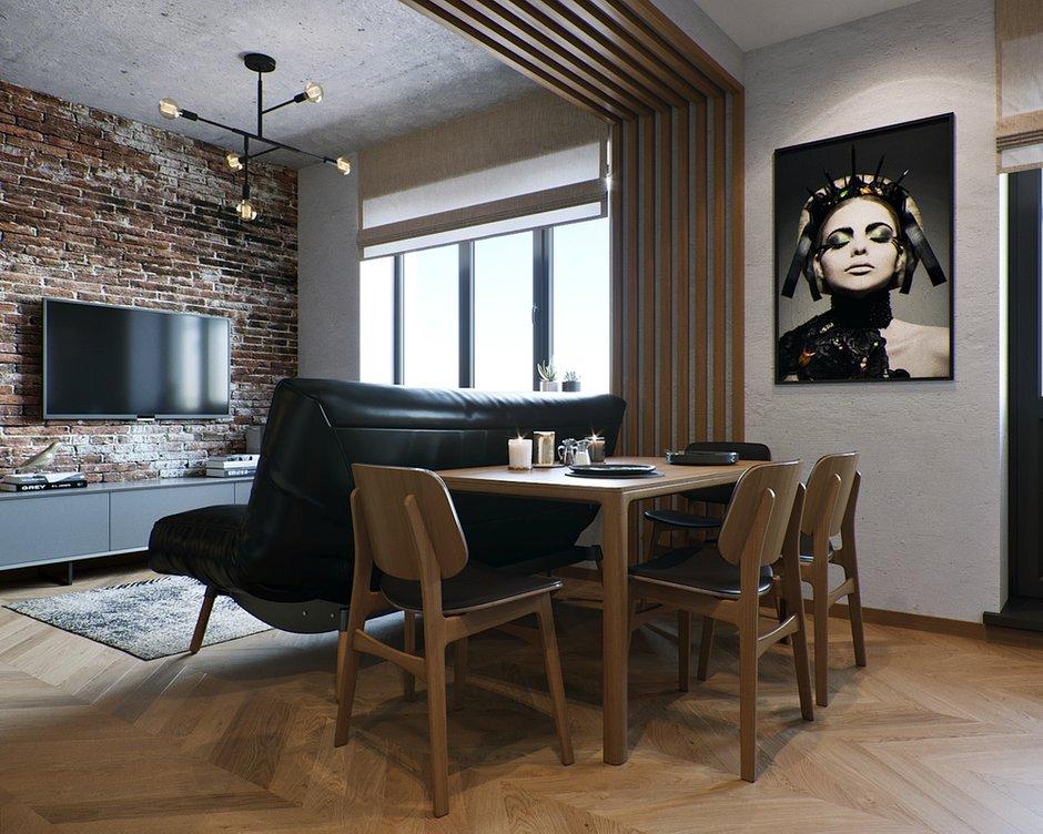 Фотография: Кухня и столовая в стиле Лофт, Ванная, Гостиная, Спальня, Квартира, Студия, Проект недели, Серый, Коричневый, до 40 метров, ПРЕМИЯ INMYROOM – фото на INMYROOM