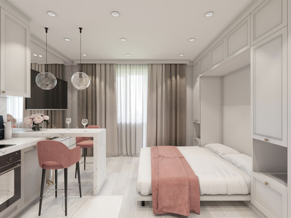 Фотография: Спальня в стиле Современный, Малогабаритная квартира, Квартира, Студия, Проект недели, Монолитный дом, до 40 метров, Котельники, Диана Бганова – фото на INMYROOM