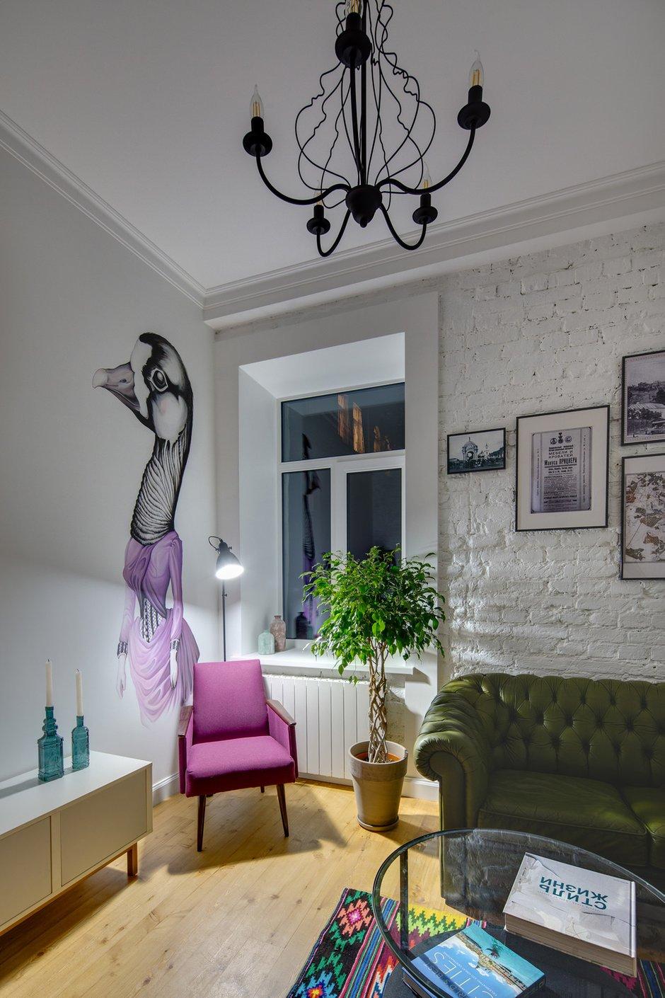 Фотография: Гостиная в стиле Скандинавский, Эклектика, Малогабаритная квартира, Квартира, Проект недели, Киев, Старый фонд, Кирпичный дом, Майя Баклан, 2 комнаты, 40-60 метров – фото на INMYROOM