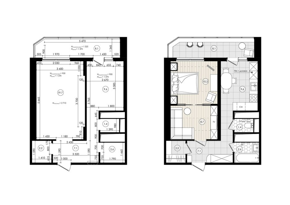 Обмерный план и план с расстановкой мебели