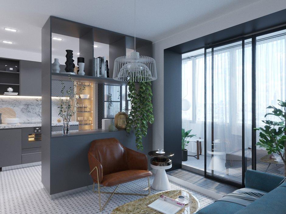 Фотография: Гостиная в стиле Современный, Малогабаритная квартира, квартира холостяка, малогабаритка, 1 комната, до 40 метров, Юлия Тельнова – фото на INMYROOM
