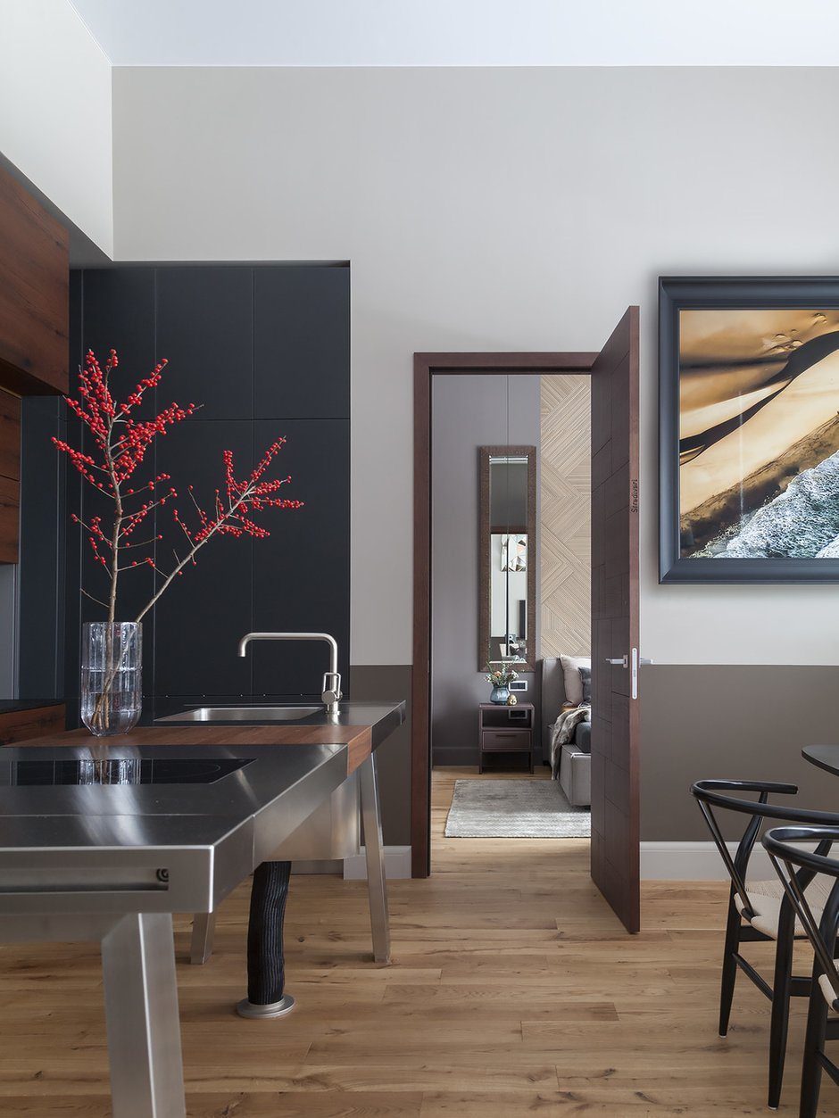 Фотография: Кухня и столовая в стиле Современный, Квартира, Проект недели, Москва, Диана Мальцева, Монолитный дом, 2 комнаты, 60-90 метров – фото на INMYROOM